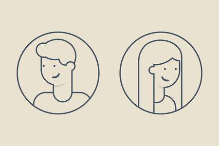 Line stijl avatars, mannelijke en vrouwelijke karakter