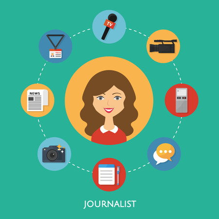 journalist: Journalist, character illustration, icons. Vector flat style