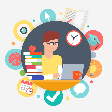 Online education and e-learning concept, student learning. Vector illustration