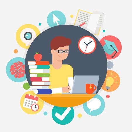 Online onderwijs en e-learning-concept, het leren van studenten. Vector illustratie Stock Illustratie