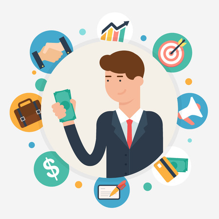 Businessman, vector illustration flat style Illustration