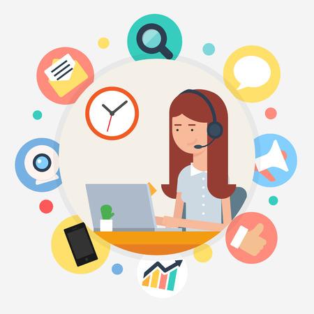 secretarias: Operador de centro de llamadas, ilustración vectorial estilo plano