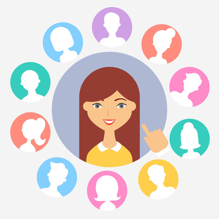 Human resources concepts female character, vector illustration
