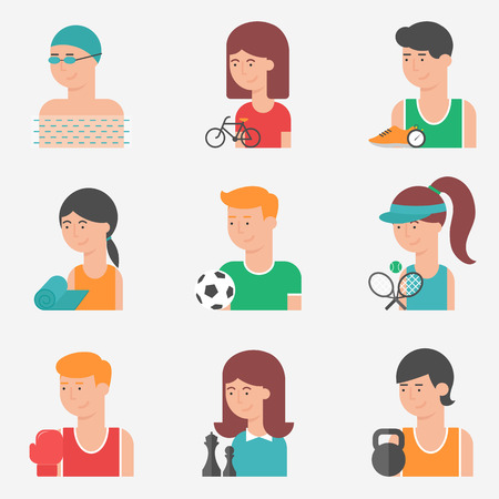 Set of flat style vector sport icons with sportsmen and sports clubs Vector
