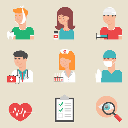 healthy person: Set of flat style vector medicine icons. Doctors - physician, surgeon, nurse. Patients with toothache, allergy and injury. Medical equipment