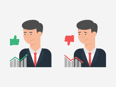 unsuccessful: Vector illustration of successful and unsuccessful businessman, flat style Illustration