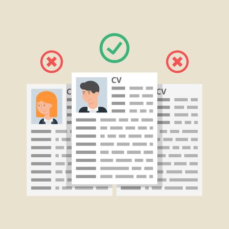 CV hervat, medewerkers selectieproces. Vector illustratie, vlakke stijl Stock Illustratie