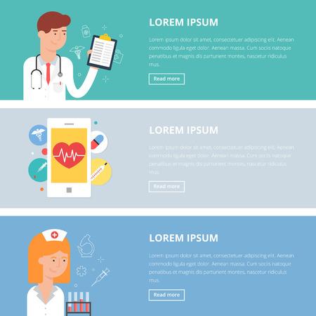 consulta médica: Vector ilustraciones médicas, estilo plano. Consulta, aplicación médica móvil, el diagnóstico del doctor