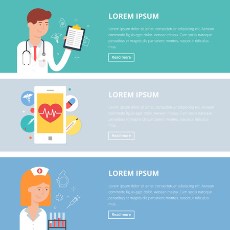 Vector medical illustrations, flat style. Doctor's consultation, medical mobile app, diagnosis Ilustração