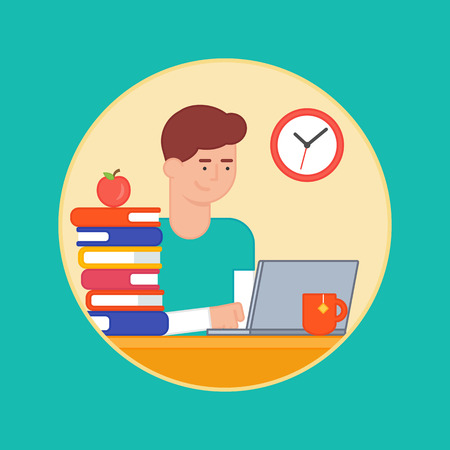 workday: Vector illustration, line style. Education concept, e-learning, student learning, working man