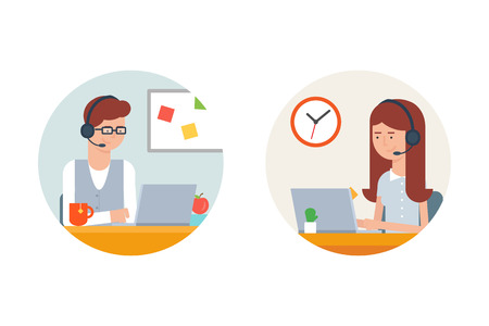 business support: Call center, user support male and female character. Vector illustration, flat style