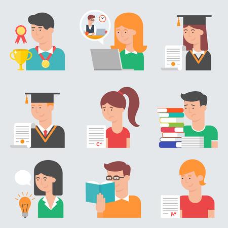 Ensemble d'icônes de l'éducation de vecteur de style plat. E-learning, formation en ligne, l'obtention du diplôme, les essais, la vie étudiante