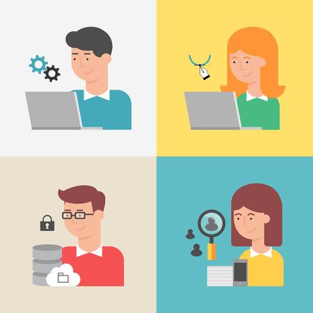 Set van informatietechnologie specialisten: programmeur, ontwerper, systeembeheerder, manager. Vlakke stijl