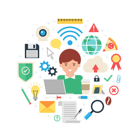 Web development, information technologies and design abstract flat style vector illustration