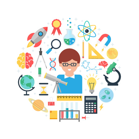 Science abstract flat style vector illustration 일러스트