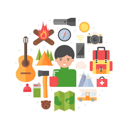 man hiking: Hiking and camping abstract flat style vector illustration