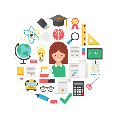 teacher: Education abstract flat style vector illustration Illustration
