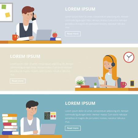 Gente en el trabajo, la vida de oficina. Conjunto de banderas. Ilustraciones del vector para negocios y web