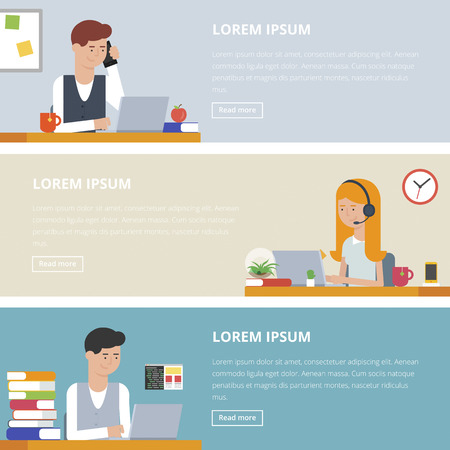 People at work, office life. Set of banners. Vector illustrations for business and web