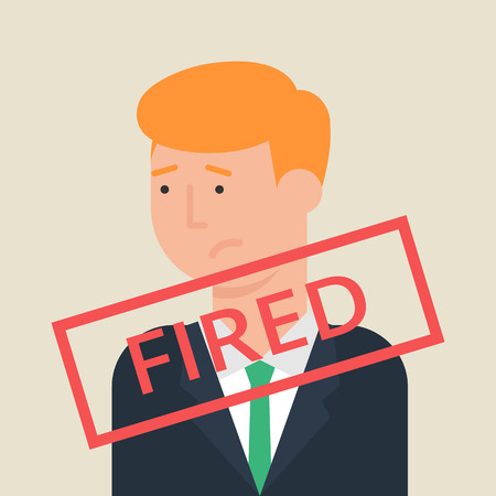 kicked out: Illustration of fired employee, flat style