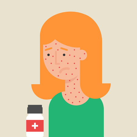 rash: Illustration of a woman with allergy, flat style