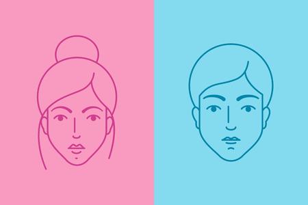 nene y nena: Avatares femeninos y masculinos, syle plana