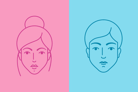 beautiful young girl: Female and male avatars, flat syle