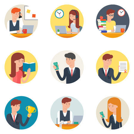 call center female: Set of business people in action flat style vector icons