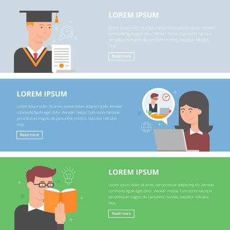 aprendizaje: Conjunto de estilo plana banderas educación vectorial. E-learning, graduación, la lectura de libros Vectores