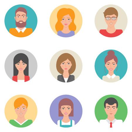 persona alegre: Conjunto de avatares estilo plana vector, personajes masculinos y femeninos
