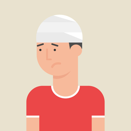head pain: Illustration of a man with bandage on his head, flat style Illustration