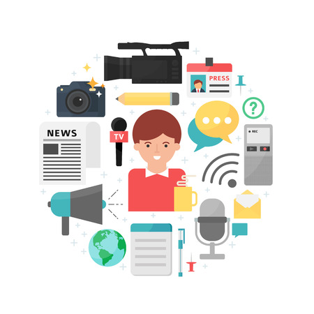 Mass media and journalism abstract flat style vector illustration