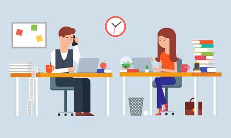 directorio telefonico: Ilustración de dos empleados que trabajan en la oficina Vectores