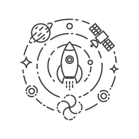 start line: Vector illustration of rocket flying in space. Start up and science concept