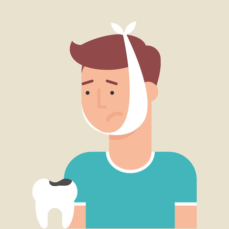 tooth pain: Illustration of a man with toothache, flat style