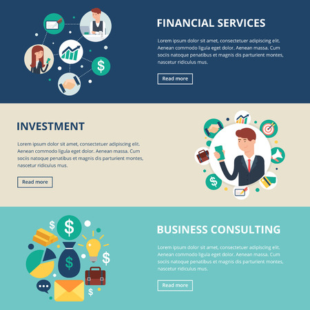 비즈니스 배너 : 금융 서비스, 투자, 비즈니스 컨설팅. 벡터 일러스트 레이 션, 평면 스타일