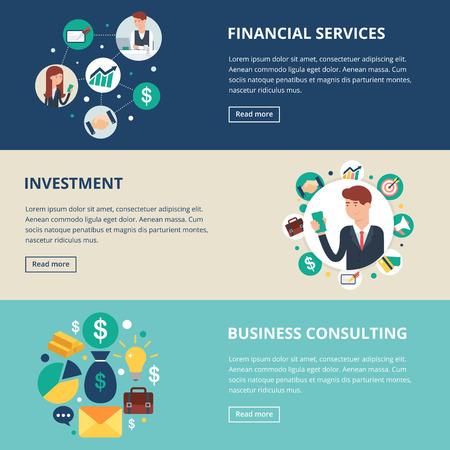 recursos financieros: Banderas del asunto: los servicios financieros, inversión, consultoría de negocios. Ilustración del vector, estilo plano