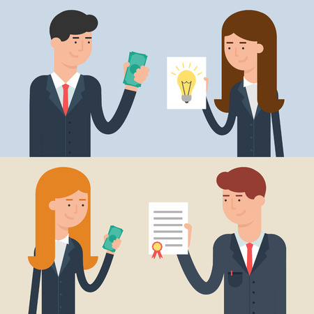 conclusion: Vector illustration of business deals - investment, patenting, buying and selling ideas, conclusion of a contract