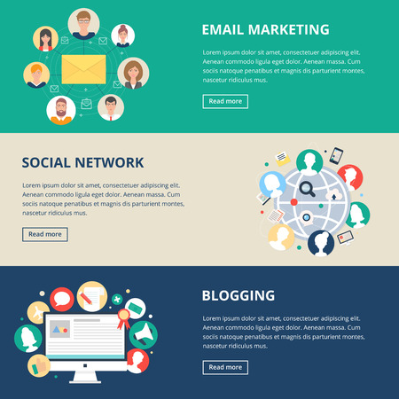 Social networks and internet marketing banners: email marketing, social network, blogging. Vector illustration, flat style Иллюстрация