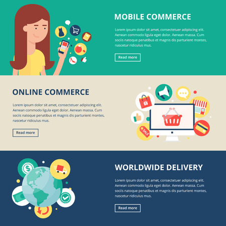 e commerce icon: Shopping and internet commerce banners: mobile commerce, online commerce, worldwide delivery. Vector illustration, flat style