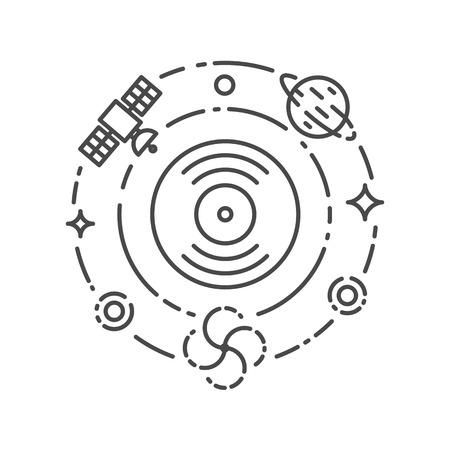 electronic music: Concetto di musica. Ambient, Chillout, lo spazio, la musica elettronica. Illustrazione vettoriale, contorno stile
