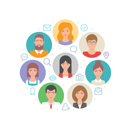 Mensen, digitale communicatie abstract vlakke stijl vector illustratie Stock Illustratie