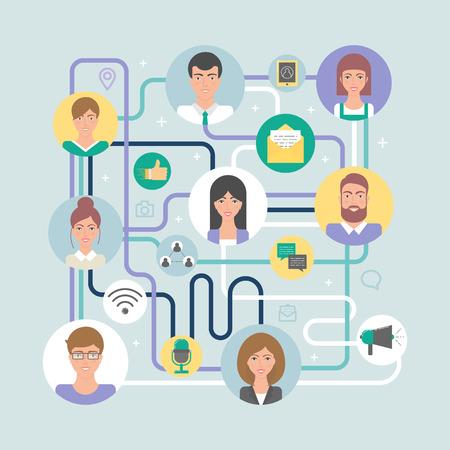 Ilustración vectorial de redes sociales, la comunicación digital, sociedad de la información