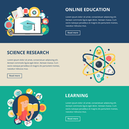 Education and science banners: online education, e-learning, science research, learning. Vector illustration, flat style