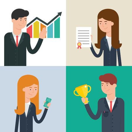 rewarding: Business people: presentation, analysis, investment, rewarding. Vector illustration, flat style