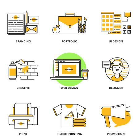 Branding, corporate identity en design vector iconen set: branding, portefeuille, ui ontwerp, creatief, web design, ontwerper, print, t-shirt bedrukken, promotie. Moderne lijn stijl