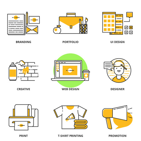 Branding, corporate identity and design vector icons set: branding, portfolio, ui design, creative, web design, designer, print, t-shirt printing, promotion. Modern line style
