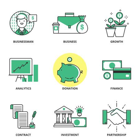 crecimiento: Banca y finanzas vector iconos conjunto: hombre de negocios, negocios, el crecimiento, la analítica, donación, finanzas, contratos, inversiones, cooperación. Estilo de línea moderna