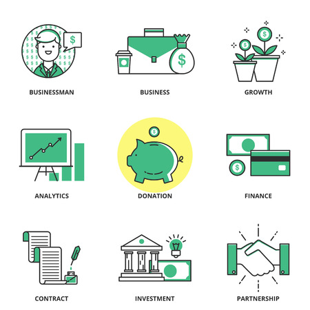 Banking and finance vector icons set: businessman, business, growth, analytics, donation, finance, contract, investment, partnership. Modern line style