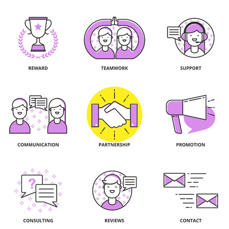 partnership: Customer support and management vector icons set: reward, teamwork, communication, partnership, promotion, consulting, reviews, contact. Modern line style
